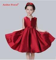 Big Girls Chirstmas s'habiller Européenne style américain enfants BOWS ceinture veste rouge princesse robe V-cou soie robes de demoiselle d'honneur T0057