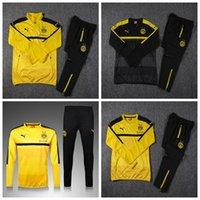 Wholesale 2016 Borussia Dortmund Tracksuits Football Suits Soccer Training Jerseys Sets Futbol Pants Long sleeve Jacket Sports shirt
