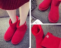b tube - 2016 winter snow boots shoes short tube short boots with velvet thickening student flat non slip warm cotton shoes