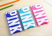 apple letters - 2016 New Fashion PINK soft silicon PINK design big pink letter victoria phone case for iphone g s s plus secret capa celular