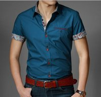 Wholesale New Summer Casual Men Shirt Slim Fit Dress Shirts Print Camisa Social Short sleeved Men s Blouses Size M XXXL