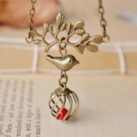 antique coral necklace - Antique Bronze Alloy Bird Tree Branch Ball Shaped Bird Cage with Red Coral Necklace Kawaii Children Christmas Jewelry nxl034