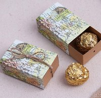 Wholesale 100 World map Wedding Favors Candy Boxes Gift Box Sugar Candy Box with Burlap