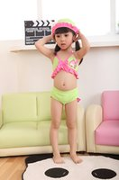 Wholesale Lovely Summer Fish Style Girl Bikini Two piece With Hat Two piece Toddler Girls Swimsuit Color