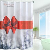 arrival shower - New Arrival Waterproof Christmas Polyester Shower Curtain Bath Bathing Sheer Curtain for Home Decoration