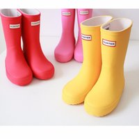 Wholesale Children Shoes Rain Boots H Girls Shoes Solid Jelly Water Shoes Flat Short New Shoes Kids red yellow pink Boots