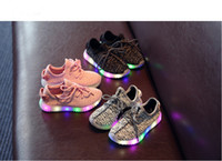 Wholesale 3 Colors sizes kids LED Luminous sneakers Boys girls shiny Running Sports light up Shoes booties toddler shoes