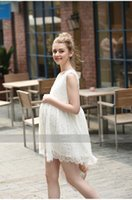 Wholesale Maternity summer dresses tops tees European style loose A swing doll dress lace V collar sleeveless dress of pregnant women