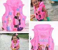 Wholesale 2016 cartoon frozen monsterhigh spiderman CARS Inflatable swim lift vest buoy kid children s bath toy for summer autumn kid gift