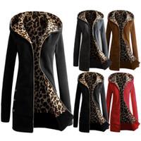 Wholesale New Euroepan Style Women Fashion Long Sleeve Zipper Hooded Winter Warm Coat Female Leopard Fleece Jacket Outerwear