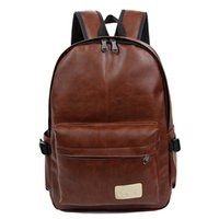 Wholesale 2016 High Quality Leather Rucksack Men s Backpacks School Bags for Teenage Boys Travel Bags Fashion Bookbags Designer Backpack Men Backpacks
