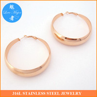 big gold hoop earrings - 2016 Hot New Arrival High Quality Women s Big Hoop Gorgeous Rose Gold Plated Stainless Steel Earrings Jewerly