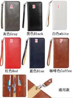 Wholesale Straps For Bag Wholesale - 5.5 inch Universal Strap Wallet Leather Pouch For IPhone SE 5 5S 6 6S 7 I7 Iphone7 Plus 4 4S 4G Samsung Galaxy S6 Sleeve Case Card Bag Cover