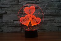 Ball No No Mixed Lot Love New Style 3D Optical Night Light 10 LEDs Night Light DC 5V AA Battery Gift Factory Wholesale