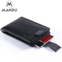 zipper pull - Newest Arrivals Mens Ultra Slim RFID Blocking Bifold Genuine Leather Wallet Pull Tab with Money Clip Black In Stock