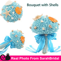 Sleeveless beach bouquets - 2016 Summer Beach Bridal Wedding Prom Bouquets with Shells Pearls for Brides Bridesmaid Holding Flowers Sale Cheap Luxury Ribbon Bow Cheap