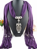 Wholesale 2016 New Arrival tassel pendant Scarves Fashion owl pendant scarf Act the role ofing is tasted alloy tassel scarf necklace scarf Colors