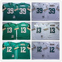 Wholesale Throwback Miami Dan Marino Bob Griese Larry Csonka White Green Home Away Stitched Vintage Football Jerseys