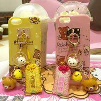 bell phones tassel - Rilakkuma Bear Cute Cartoon Soft Phone Cases For iPhone s plus splus Easily bear case Bell Tassel Keychain Charm Back Cover