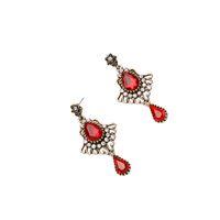 antique ruby earrings - Rhinestone Bejeweled Teardrop Ruby Stone Flying Wing Regal Statement Earring Woman Fashion Ladylike Antique Gold Stud OEM ODM