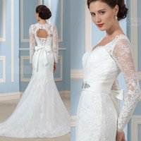 amazing bows - Amazing Long Sleeve Wedding Dresses Lace Applique Crystal Sash Mermaid Bridal Dress With Beaded V Neck Lace Up Bow Long Wedding Gowns