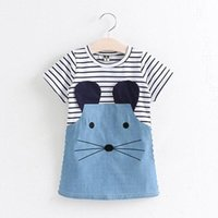 Wholesale Cute Chinese Girls - 2017 Striped Girl Dresses Long Sleeves Cute Children Clothing Baby Girls Denim Dresses Kids Clothes Cheap MC0286