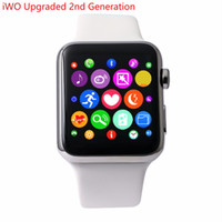Wholesale iWO Upgraded nd Generation Smartwatch MTK2502C MM Bluetooth Smart Watch Pedometer ECG Heart Rate Tester for Android iPhone