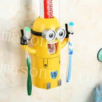 automatic toothpaste dispenser for kids - 1PC Cute Cartoon Minions Toothbrush Holder Automatic Toothpaste Dispenser Magnetic Brush Cup for Small Child kids