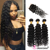 Cheveux populaires cheveux bouclés indiens de trame avec Lae Fermeture teintés non transformés Deep Weave cheveux extensions 4pcs / Lot Weave cheveux naturels