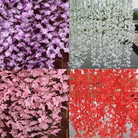 artificial cherry blossom - White Red Pink Purple Yellow Artificial Cherry Blossom Silk Flower Vine Wall Hanging Wisteria For Home and Wedding Decorations