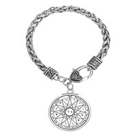 antique mercury - My Shape Religious Jewelry Antique Silver Pentacle of the Mercury Talisman Pendant Wheat Chain Bracelets for Man and Woman