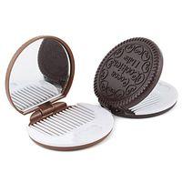 Wholesale Cute Kawaii Mini Pocket Chocolate Cookie Mirror Comb Creative Item for women Masquerade