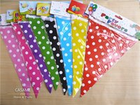 Wholesale promotion cm Romantic colorful red pink blue Polka dot Paper Flags Wedding Banners paper Banners for Party Decoration