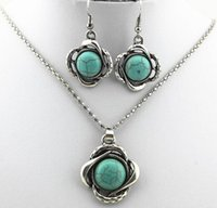 asian euro - Freeshipping The Euro American decoration necklace suit Blossom Turquoise metal alloy necklace earring two sets to