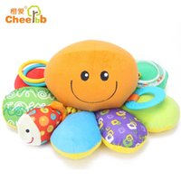 babies absorber - Cheer Orange Love Octopus toys with Bell pull function of shock absorber cloth baby baby gifts for children to play
