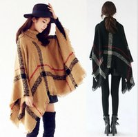 Wholesale Fashion Pashmina Lady High Turtle Neck Plaid Poncho Women Knitted Striped Tassel Sweater with Fringe Scarf women Winter Warm Shawl