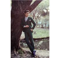 Wholesale ArmyGreen Mens Suits Three Pieces Tuxedos For Men Mens Wedding Peak Lapel Suits Jacket Pants And Vest Groomsmen Suits