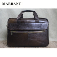 best laptop briefcases - MARRANT Best selling Genuine Leather handbag briefcase for business Vintage men messenger bag Solid shoulder bag laptop bag