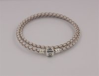 Wholesale Christmas Rope Bracelets - Fits For Pandora Bracelet ,Christmas 100% 925 Sterling Silver Clip Clasp Charms Beads Champagne 35-65cm Genuine Leather Bracelet DIY Jewelry