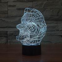artistic portraits - 3D Artistic Laser Engraving Man Portraits for Room Decoration LED Color Change Desk Table Lamp with USB line
