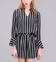 bell offices - 2016 Fall Stripe Dresses for Women Black Casual Mini Office Dress Fashion Plus Size Loose Fit Female Ruffles Sleeves Blouses Ladies Tops