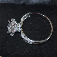 DIY formulario de Lotus de la vendimia de la piedra preciosa 925 Anillo de plata de ley Establece los anillos de dedo redondo diamante simulado de circón Anillo de boda de la joyería para las mujeres