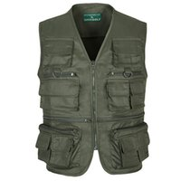 big pocket travel jacket - Fall Army Green Photography Vest Big Size XL Sleeveless Military Jacket Travel Multi Pocket Outdoor Camping Vest Sports Waistcoats