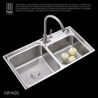 Wholesale Han Pai Stainless Steel Double Bowel Thicken Square Brushed Artesanato Kitchen Sink Faucet Fregadero HPA05