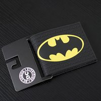 Wholesale Comics DC Marvel Summer Style Men Wallet PVC Batman Anime Purse Handbag Black Color Gentle Man Fashion Collection Gift Wallets inch