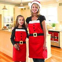 Wholesale Xms Christmas Decorations Mrs Santa Holiday Costume Kitchen Bib Red Apron