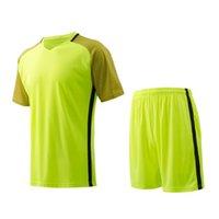 Precio de Camiseta para correr verde-Hombres Jersey de manga corta Verde fluorescente Kit de fútbol respirable Juego de ropa de running de color sólido Camisetas de fútbol en blanco