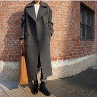 Wholesale Hot sale winter high quality parkas women wool blend Coat Casual long Outerwear plus size loose jacket campera abrigo MZ781