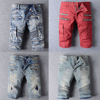 Wholesale 2016 BALMAIed Jeans Shorts Men Runway Biker Folds Ripped American JEANS Denim Cowboy Famous Brand Slim Designer Men Pants