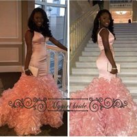 Wholesale Deep V neck Mermaid Prom Dresses with Cascading Ruffles Modest Sexy African Evening Gown Formal Party Dress